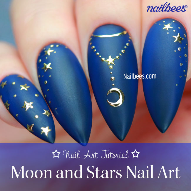 MOON AND STARS NAIL ART