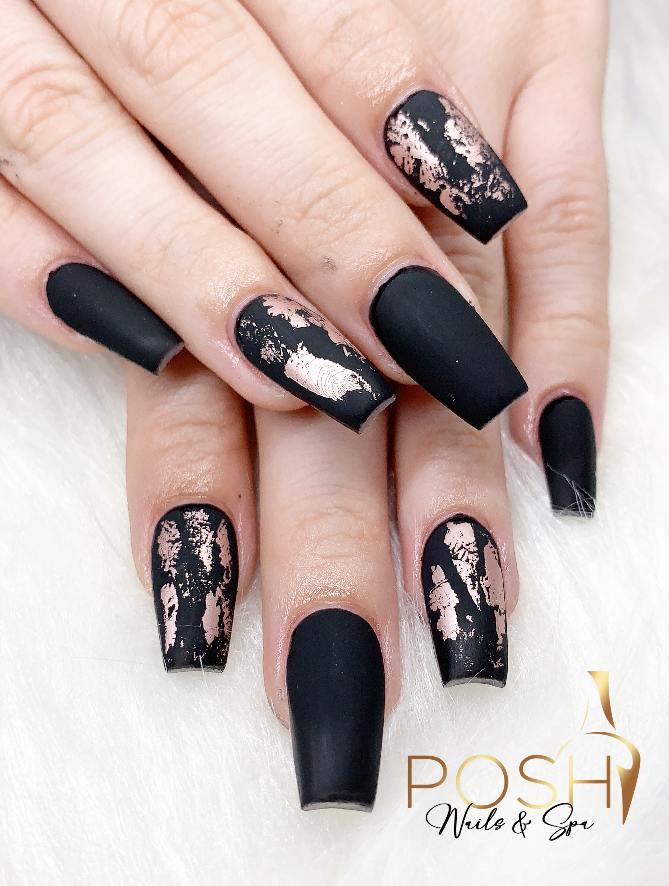 COFFIN NAILS WITH MATTE AND FOIL